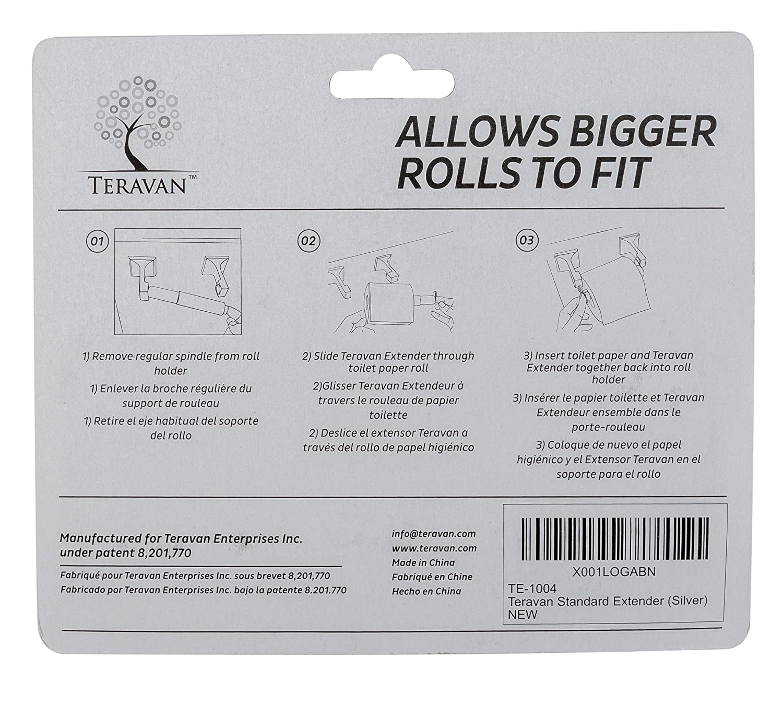 White Teravan Standard Extender for Larger Toilet Paper Rolls