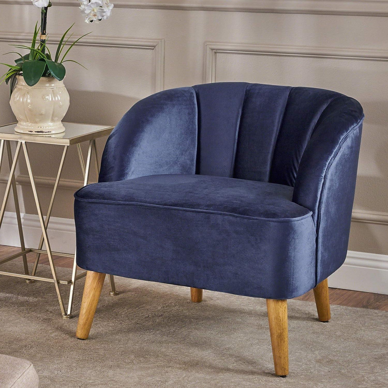 Christopher Knight Home Amaia Modern Velvet Club Chair, Cobalt / Walnut