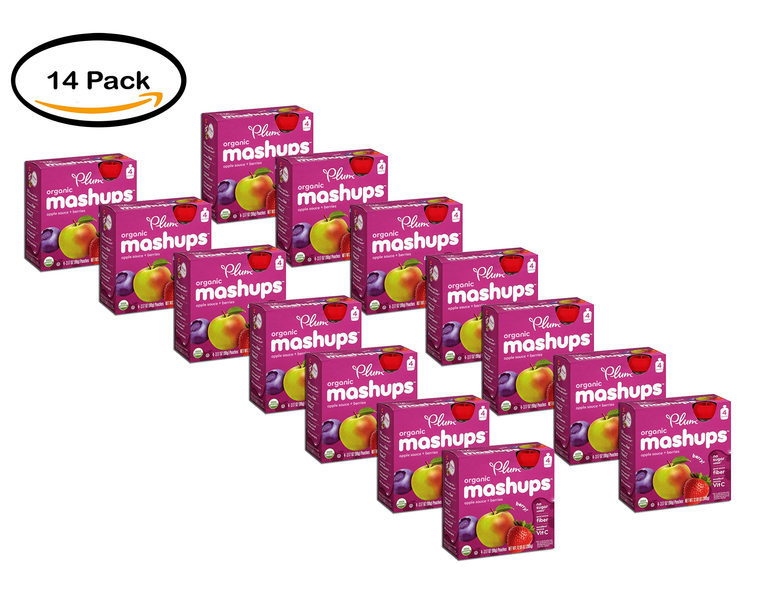 PACK OF 14 - Plum Organics Mashups Berry Apple Sauce 4-3.17 oz. Pouches