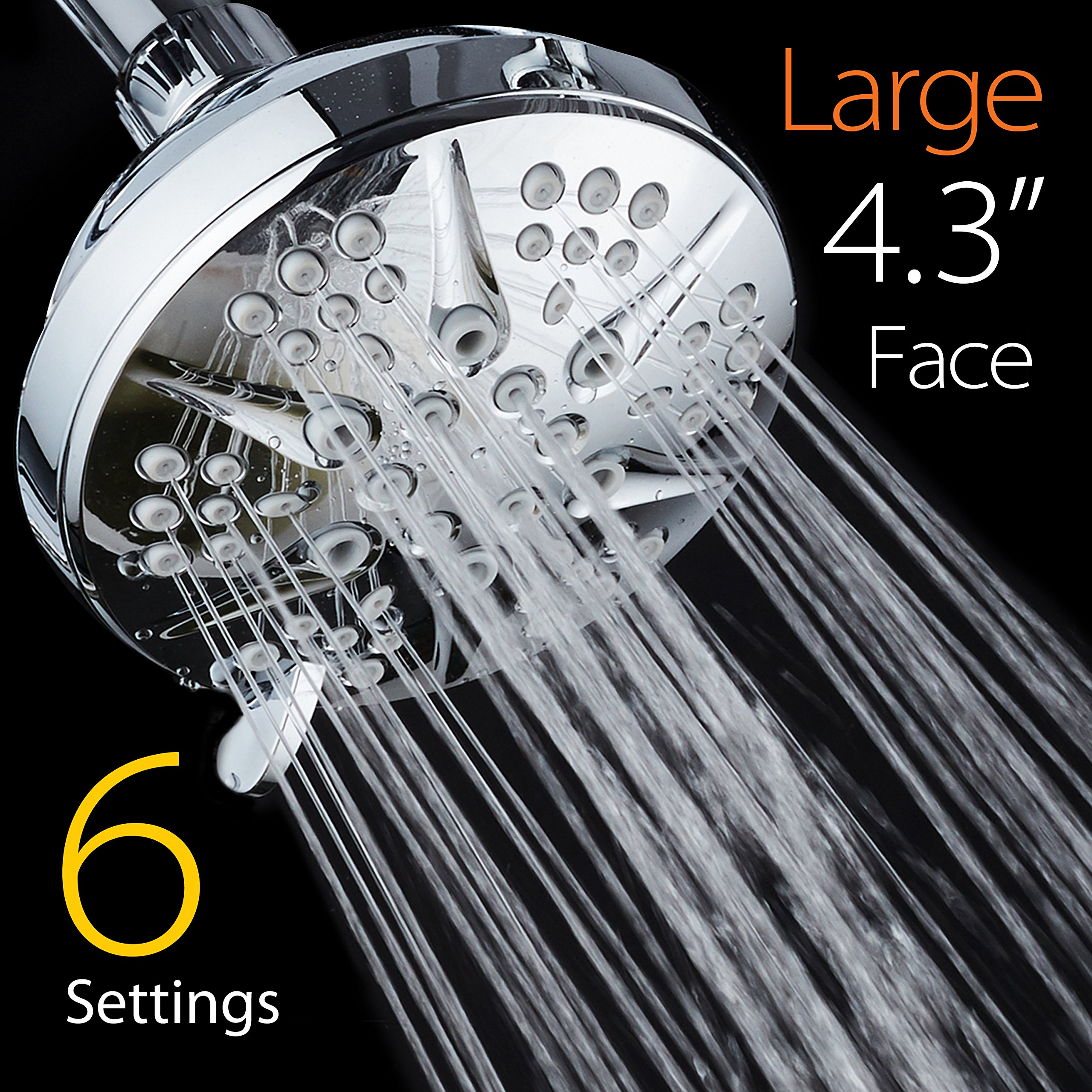 NOTILUS Giant High-Pressure 6-setting 4.3'' Face Modern Luxury Spa Shower Head - Solid Brass Metal Connection Nut, Angle-Adjustable Ball Joint, Anti-Clog Jets, All-Chrome Finish, by HotelSpa (Image #1)