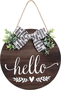 Hello Sign Rustic Front Door Decor Round Wood Sign Hanging Welcome Farmhouse Porch Decoration Spring Welcome Door Sign Home Outdoor Wall Decor (Brown)