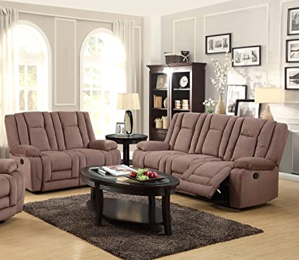 Kings Brand Furniture 2 Piece Mocha Microfiber Reclining Sofa U0026 Loveseat  Living Room Set