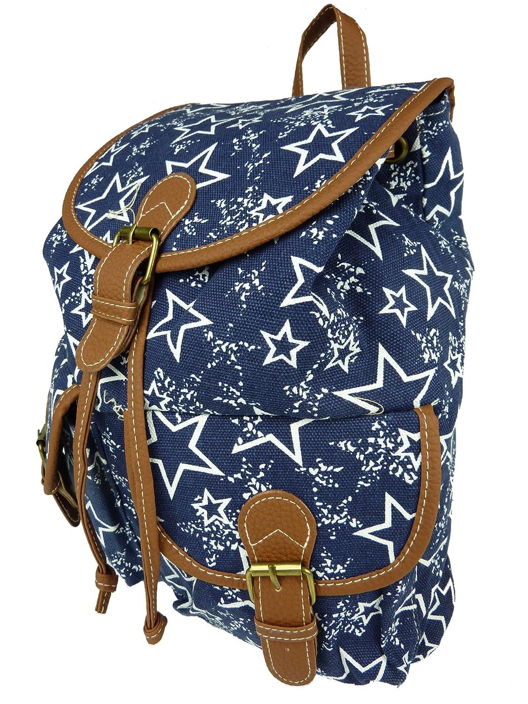 1cc61cdafcd57 STAR Stoffrucksack Z9020-3 Rucksack mit Sternchen Vintage 35x35x15cm (blau  dunkelblau)  Amazon.de  Koffer