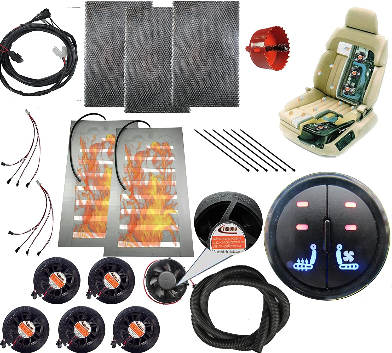 Tech Era 12v car Heated and Cooled seat pad Kits System Left//Heated Right//Cooling 2 Button Round Switch Heater pad car Ventilated seat Cooler 6 Fans 1 seat-Blow Wind Style