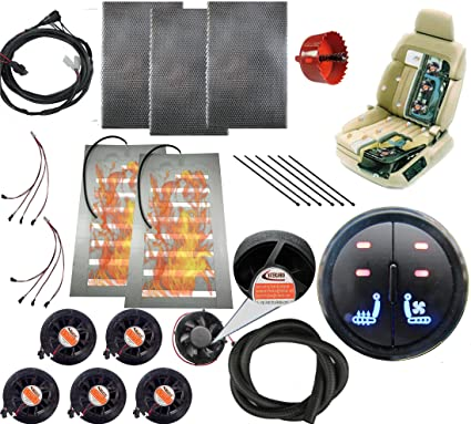 Amazon Com Watercarbon 12v Car Heated And Cooled Seat Pad Kits System Left Heated Right Cooling 2 Button Round Switch Automotive Seat Warmer Covers And Ventilation Cushion 6 Fans 1 Seat Blow Wind Style Home Audio
