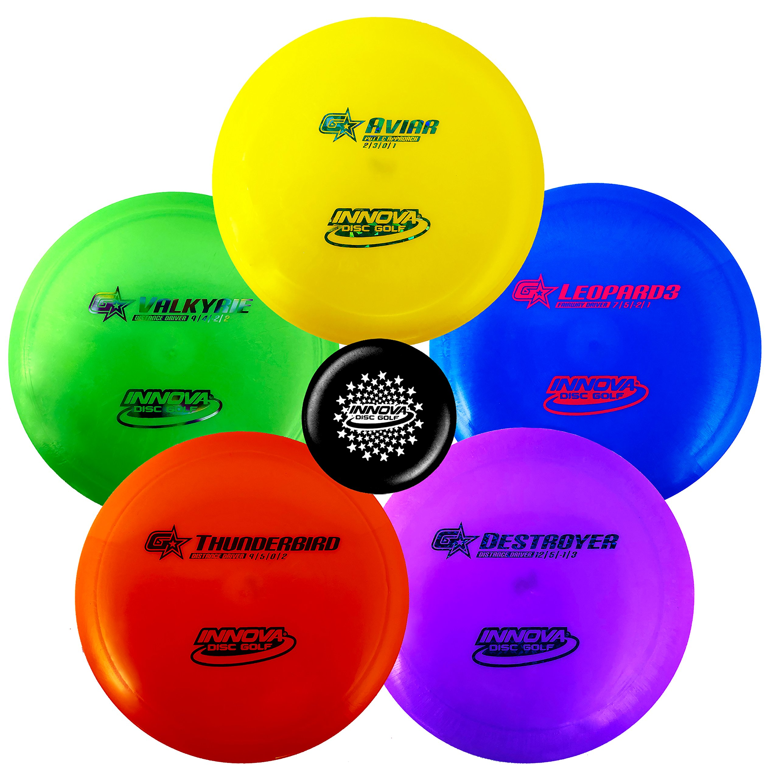 Innova Premium Beginner's Disc Golf Set - GStar Putter, Mid-Range, Driver - Durable, Flexible and Supple Plastic- Colors Will Vary - 150-169g (5 Pack) by Innova Discs
