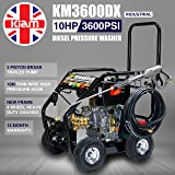 Kiam KM3600DX 10hp Industrial Diesel Pressure Washer (3600PSI @ 15 Ltr/Min) High Jet Power Driveway Patio Car Block Paving Cleaner