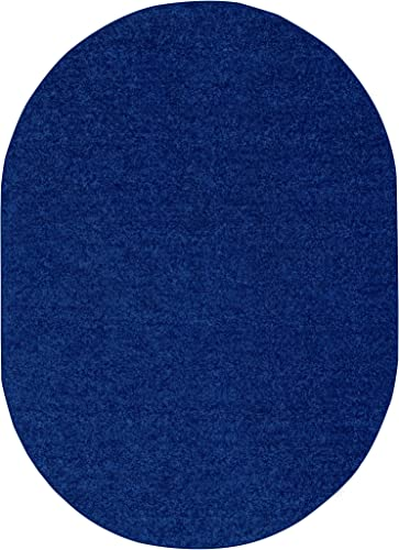 Ambiant Saturn Collection Pet Friendly Area Rug Neon Blue – 8 x10 Oval with Non Slip Backing