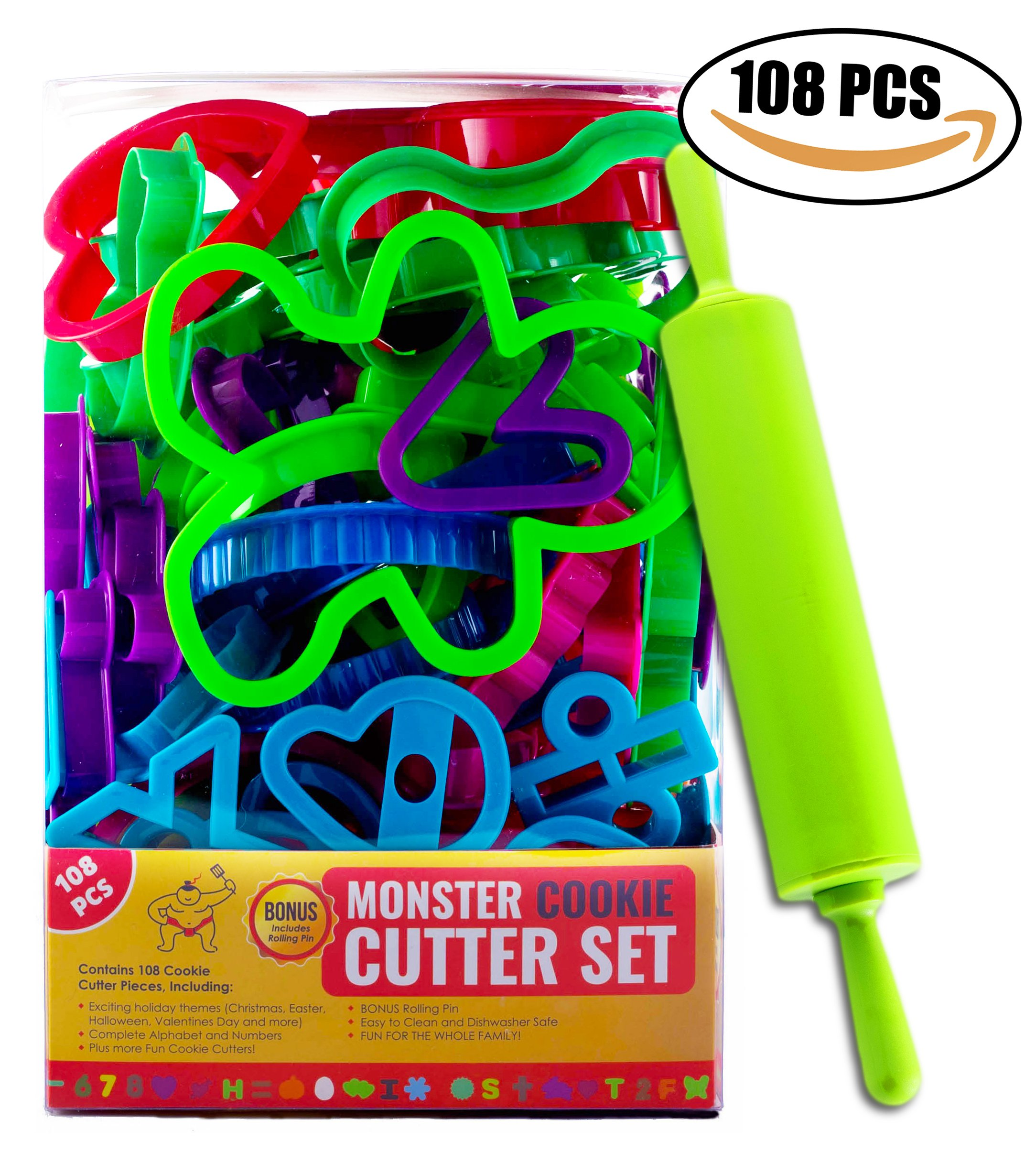 108 Count Cookie Cutters For Kids with Bonus 12'' Rolling Pin - Monster Cookie Cutter Set For Kids with Christmas, Halloween, Easter, Numbers, Alphabet, Stars, Hearts and More