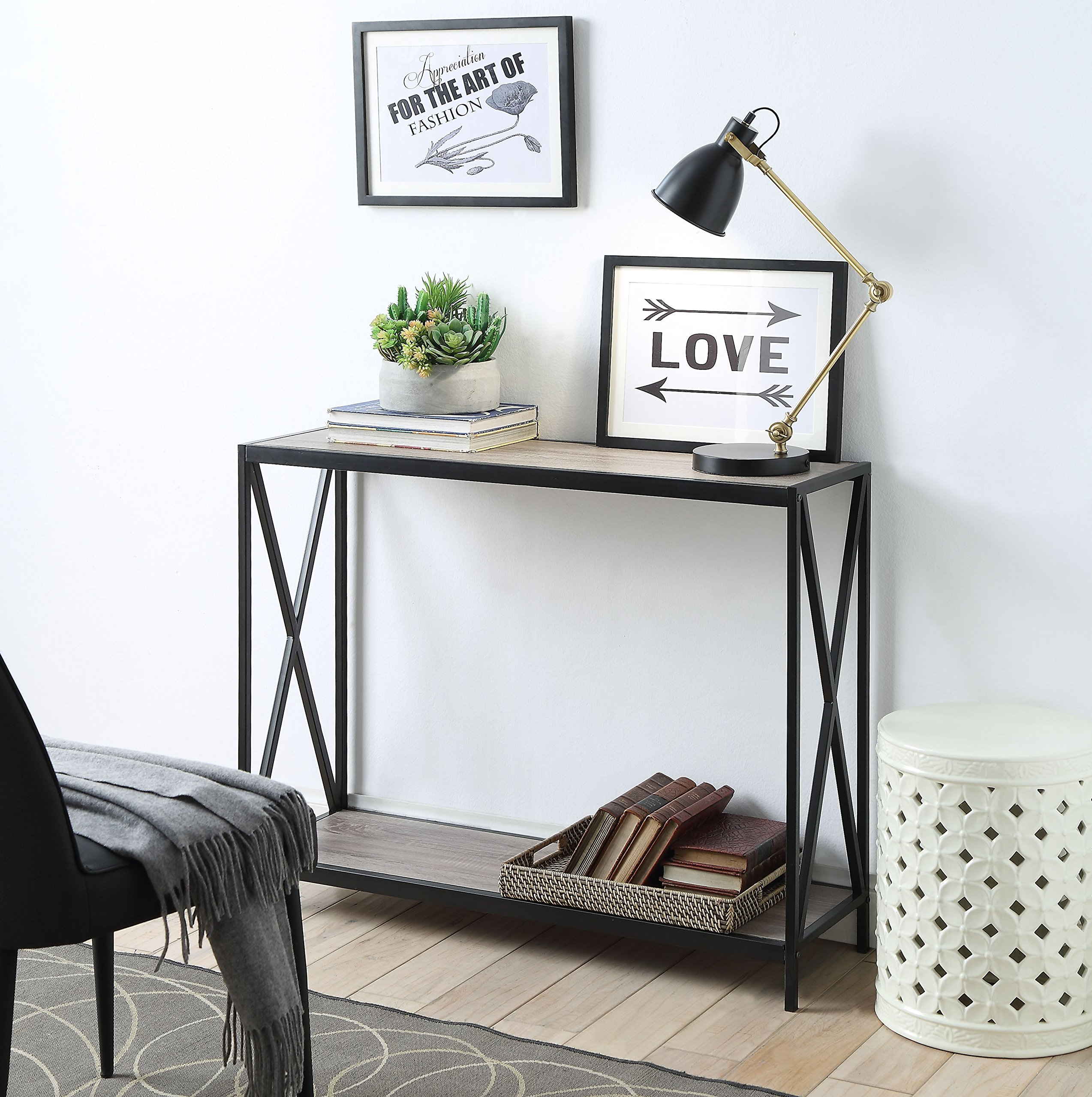 Weathered Grey Oak Metal Frame 2-Tier Console Sofa Table with X-Design by eHomeProducts by eHomeProducts