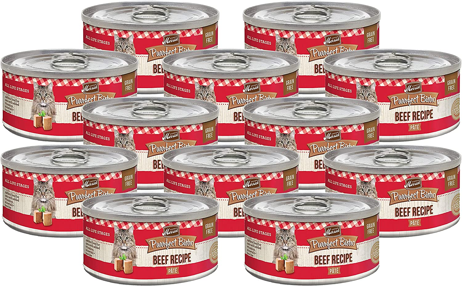Merrick Purrfect Bistro Canned Wet Cat Food, Beef Recipe Pâté, Grain Free Natural Cat Food with Added Vitamins & Minerals for All Life Stages, 3 OZ Can (Pack of 12)