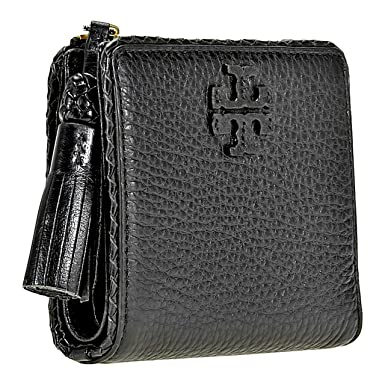 059292fa181 Amazon.com  Tory Burch Taylor Mini Wallet Women s Leather Card Case ID  Holder (Black)  Clothing