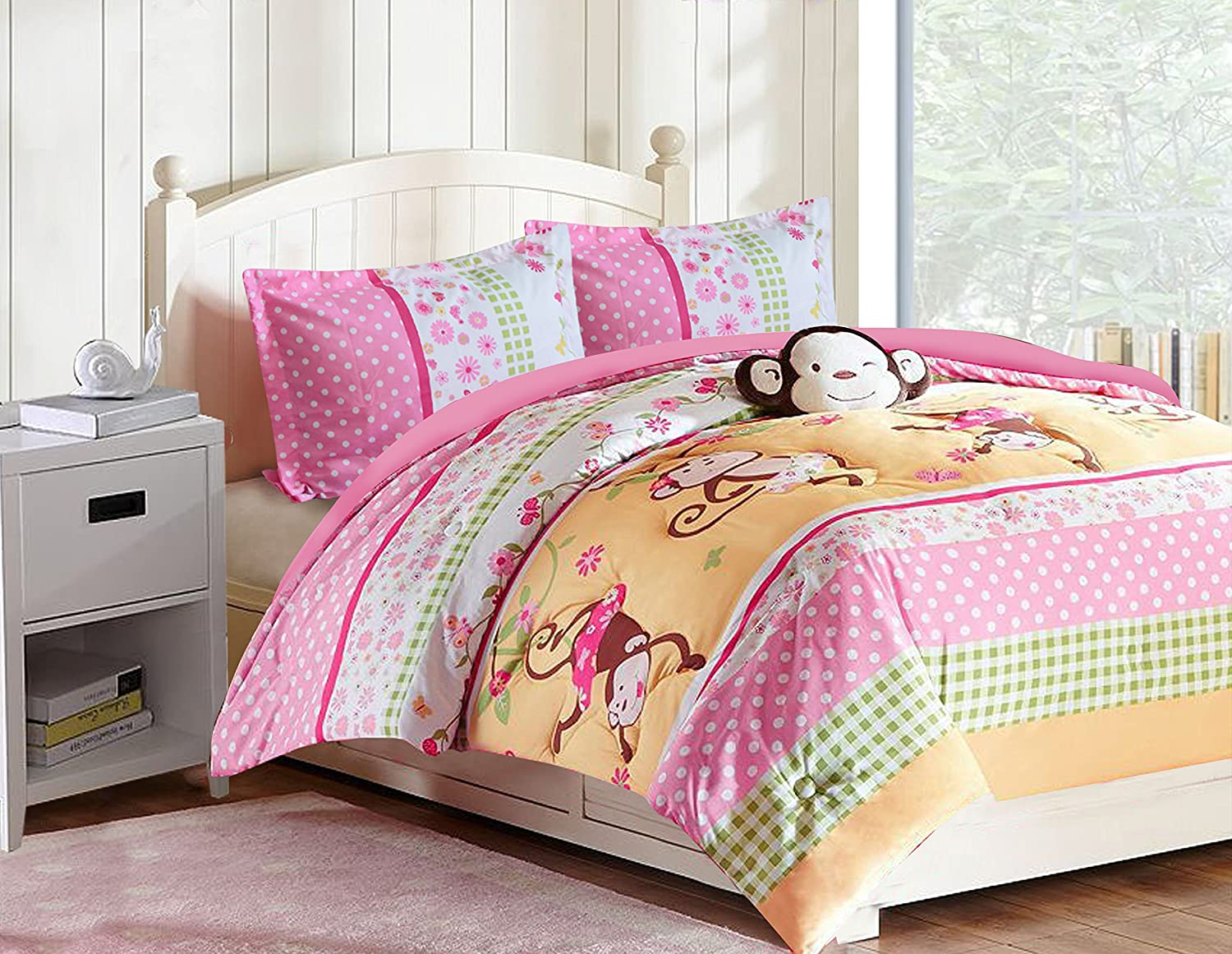 All American Collection 4 Piece Full Size Pink Monkey Comforter Set with Furry Friend (4PC FULL SIZE)