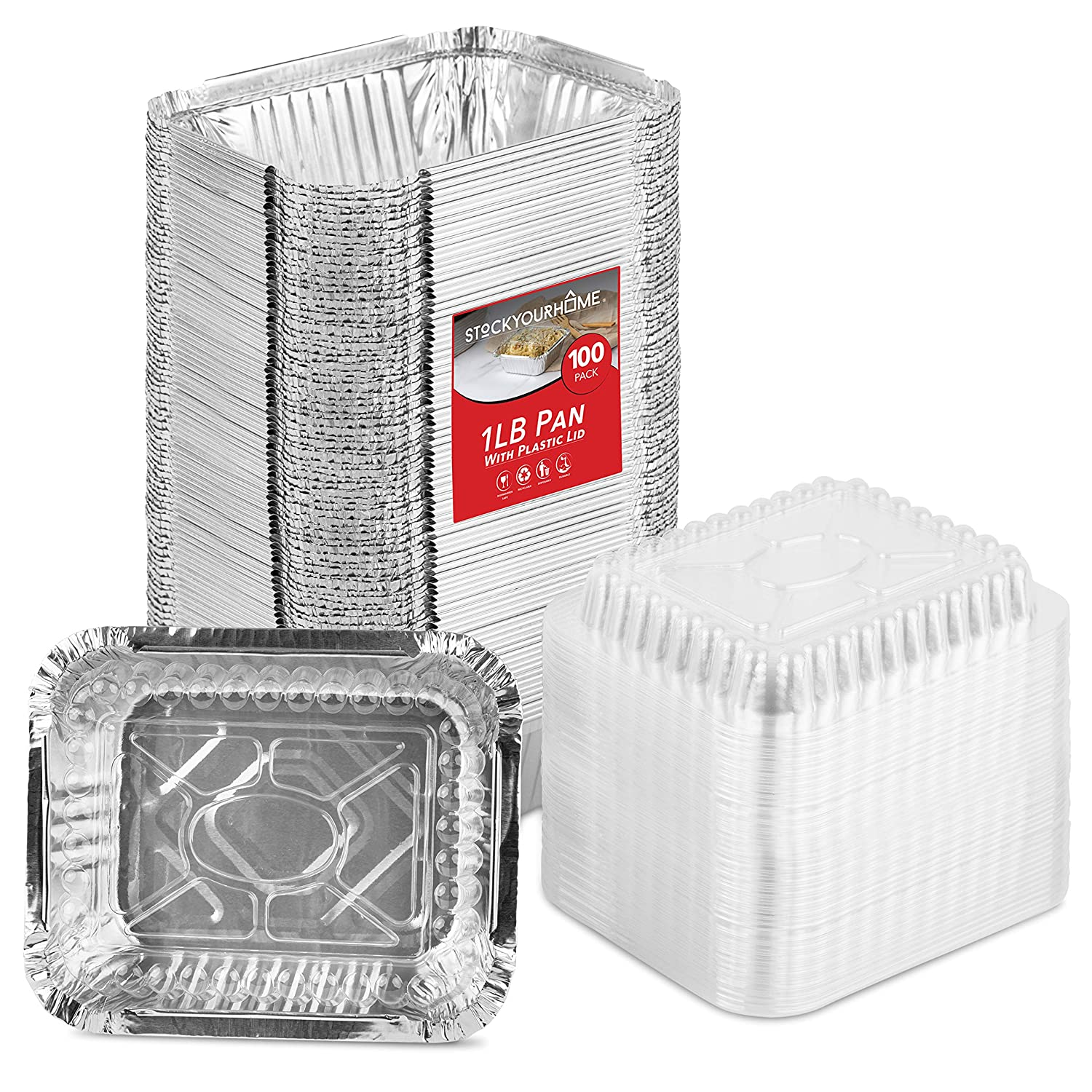 Stock Your Home 1 Lb Aluminum Disposable Cookware with Lids (100 Pack) - Foil Pans Plastic Lids - Disposable & Recyclable Takeout Trays with Lids - Food Containers for Restaurants, Catering, Delis