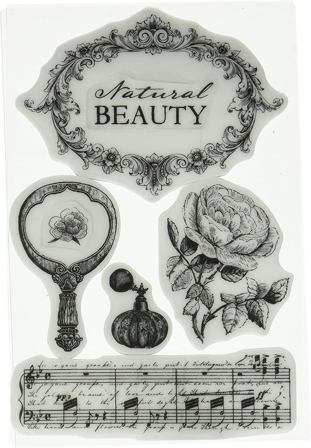 4-Inch by 6-Inch Prima Marketing Cigar Box Secret Cling Rubber Stamps