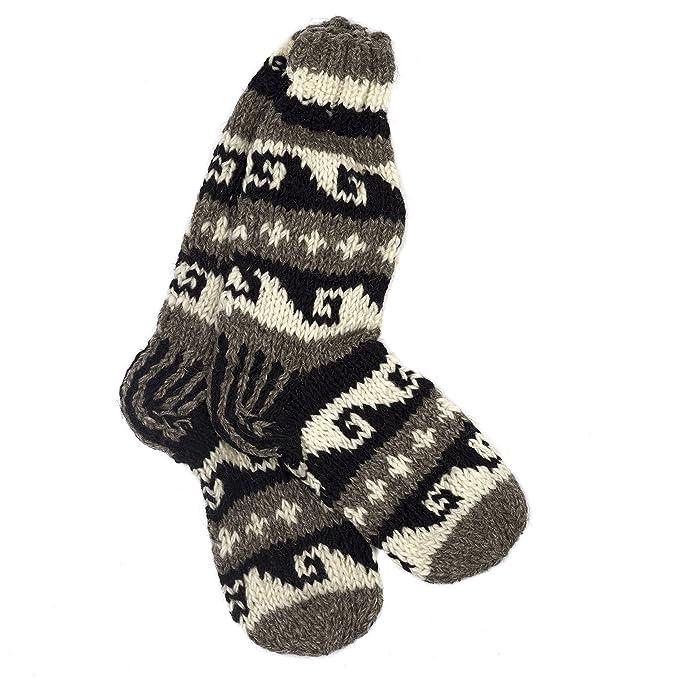 Funky Tejido a mano invierno lana de calcetines – blanco y negro