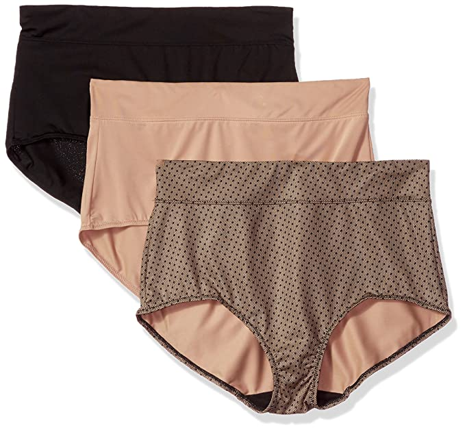 bcf34f661d73 Warners Women's Blissful Benefits No Muffin Top 3 Pack Brief Panty,  Black/Toasted Almond