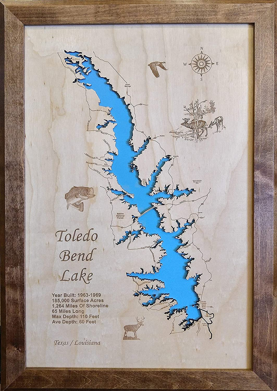 map of toledo bend lake Amazon Com Toledo Bend Lake In Texas And Louisiana Framed Wood map of toledo bend lake