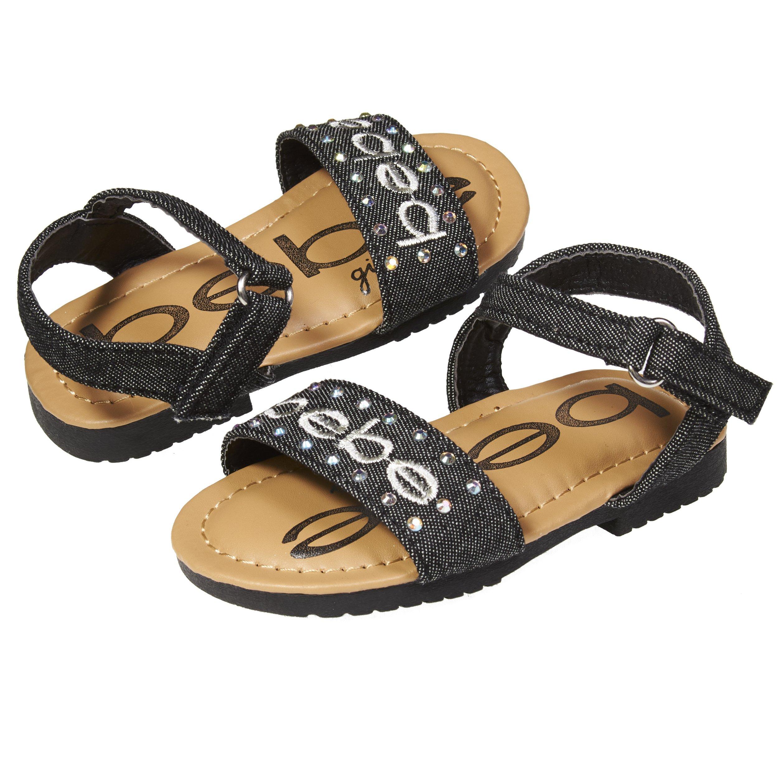 bebe Fashion Velcro Slingback Denim Flat Flip Flop