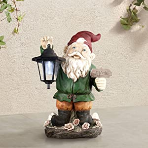 "John Timberland Welcome Gnome with Lantern 16"" High Outdoor Garden Statue"