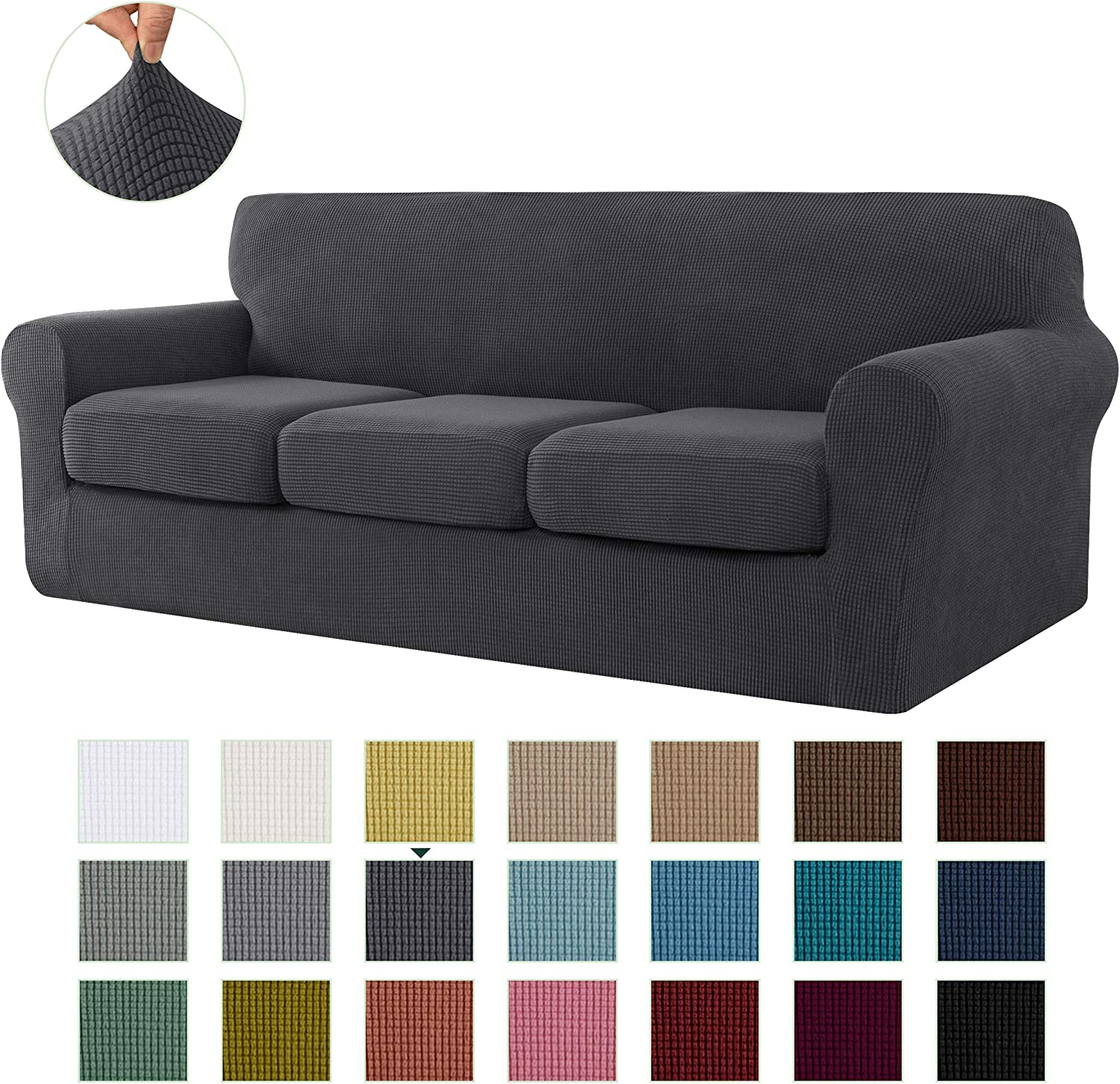 CHUN YI Stretch Sofa Slipcover Separate Cushion Couch Cover, Armchair Loveseat Replacement Coat for Ektorp Universal Sleeper, Checks Spandex Jacquard Fabric (Large,Gray)