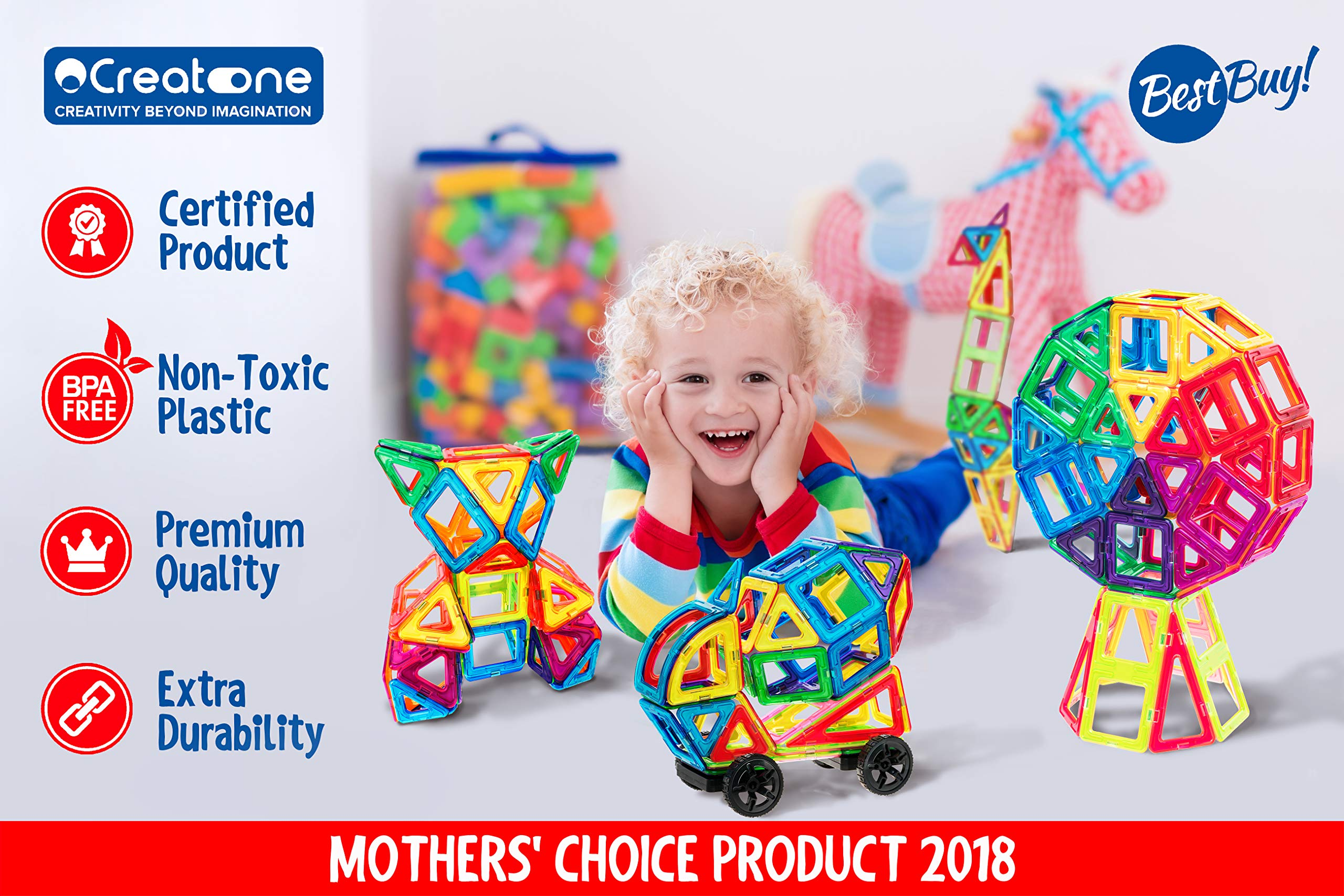 Magnetic Building Blocks for Kids – Creatone Advanced 112 PCS Ultra Strong 3D Set – Creativity, Imagination, Concentration, Hand-to-Eye and Motor Skills Stimulating and Developing Magnet Tiles by Creatone (Image #2)