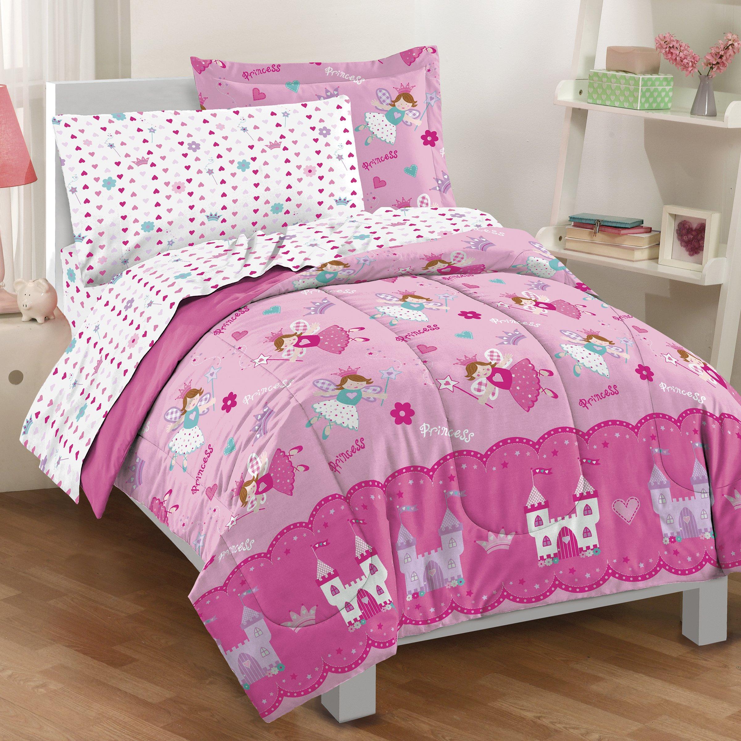 Dream Factory Magical Princess 4 Piece Bedding Set, Toddler, Pink