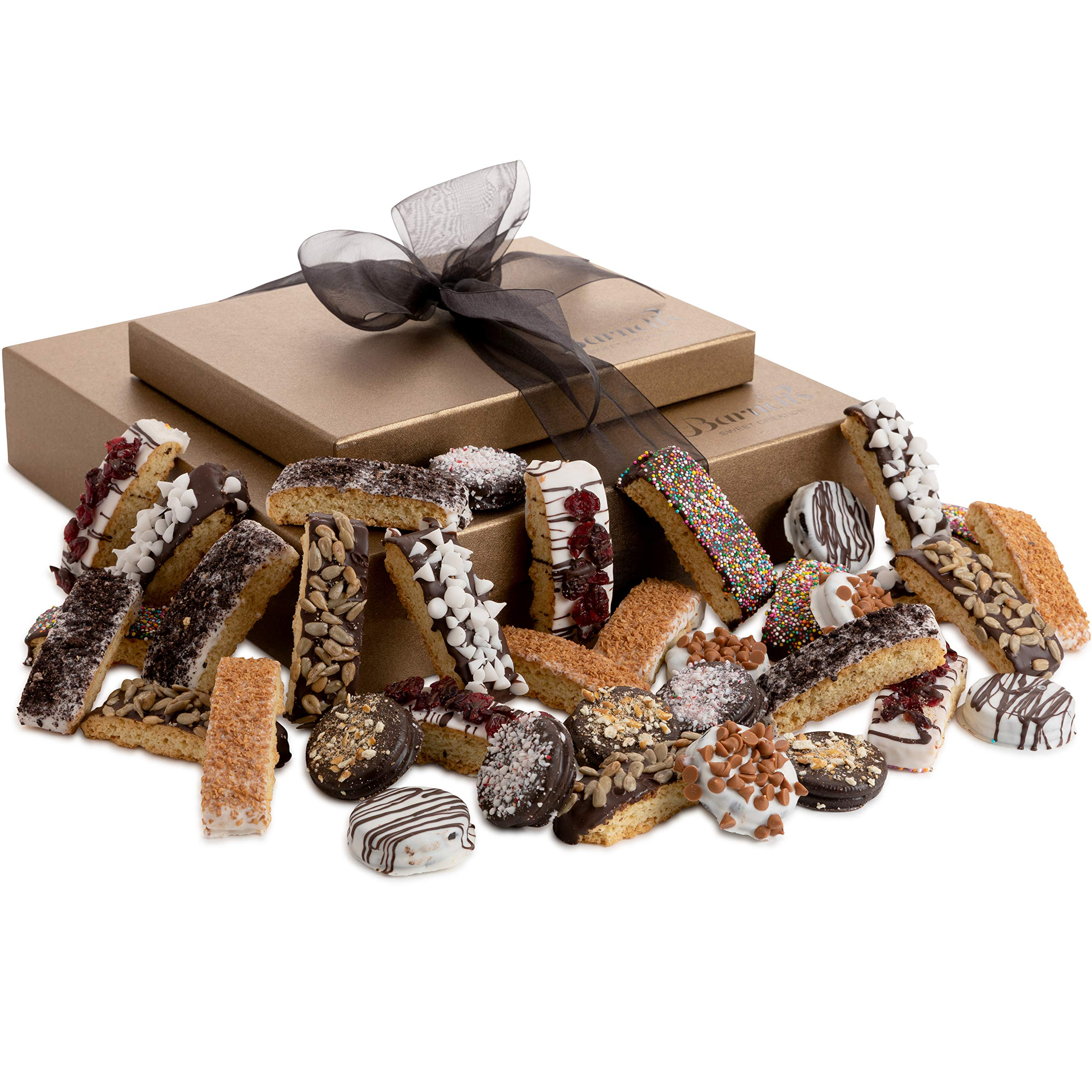 Barnett's Chocolate Cookies & Biscotti Gift Basket Tower, Unique Holiday Gourmet Cookie Gifts, Christmas Food Idea For Him Her Corporate Men Women Families Thanksgiving Valentines Fathers Mothers Day by Barnett's Fine Biscotti (Image #2)