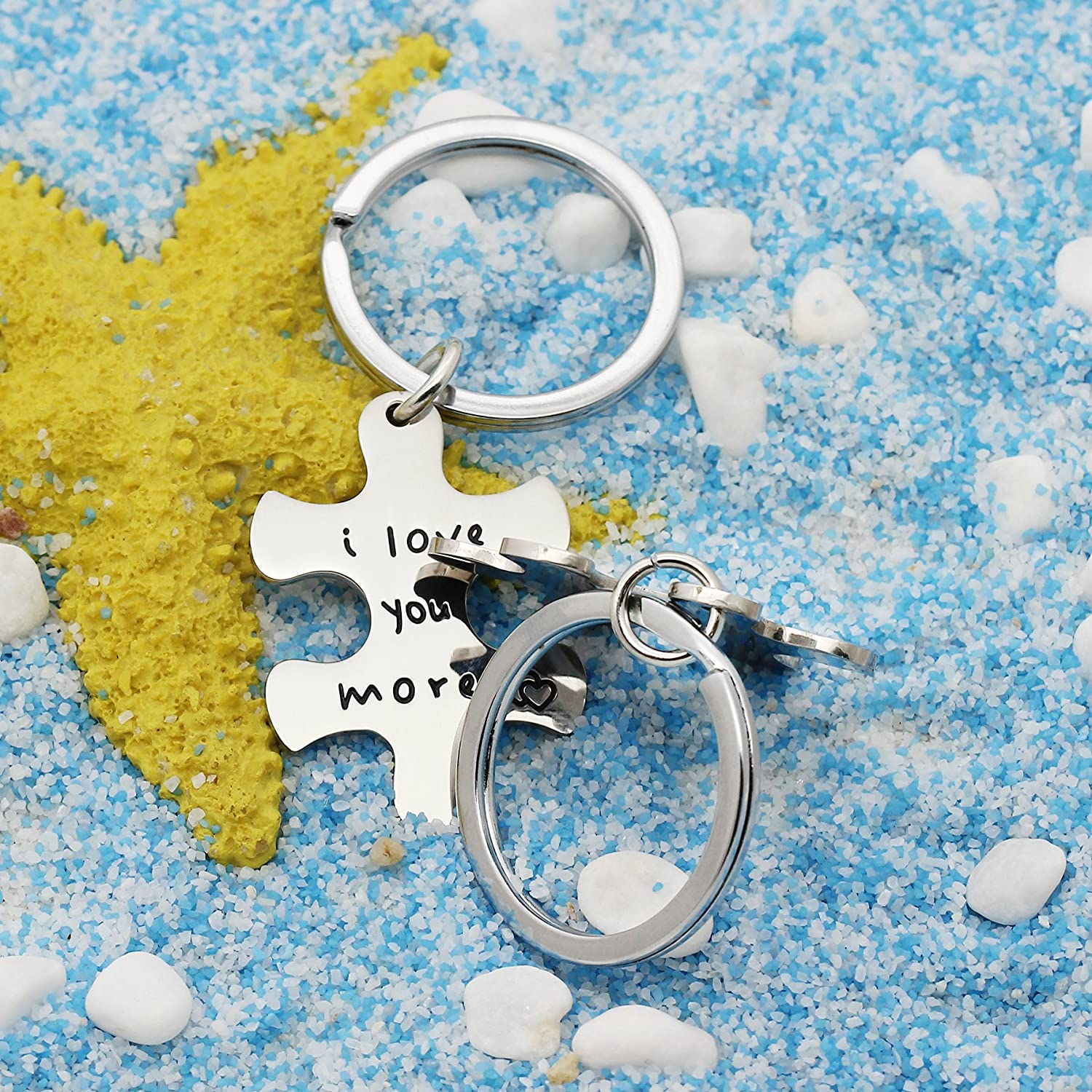 2pcs Couple Key Chain Set Valentine GiftsI Love More,I Love You Most - Puzzle Stainless Steel lauhonmin