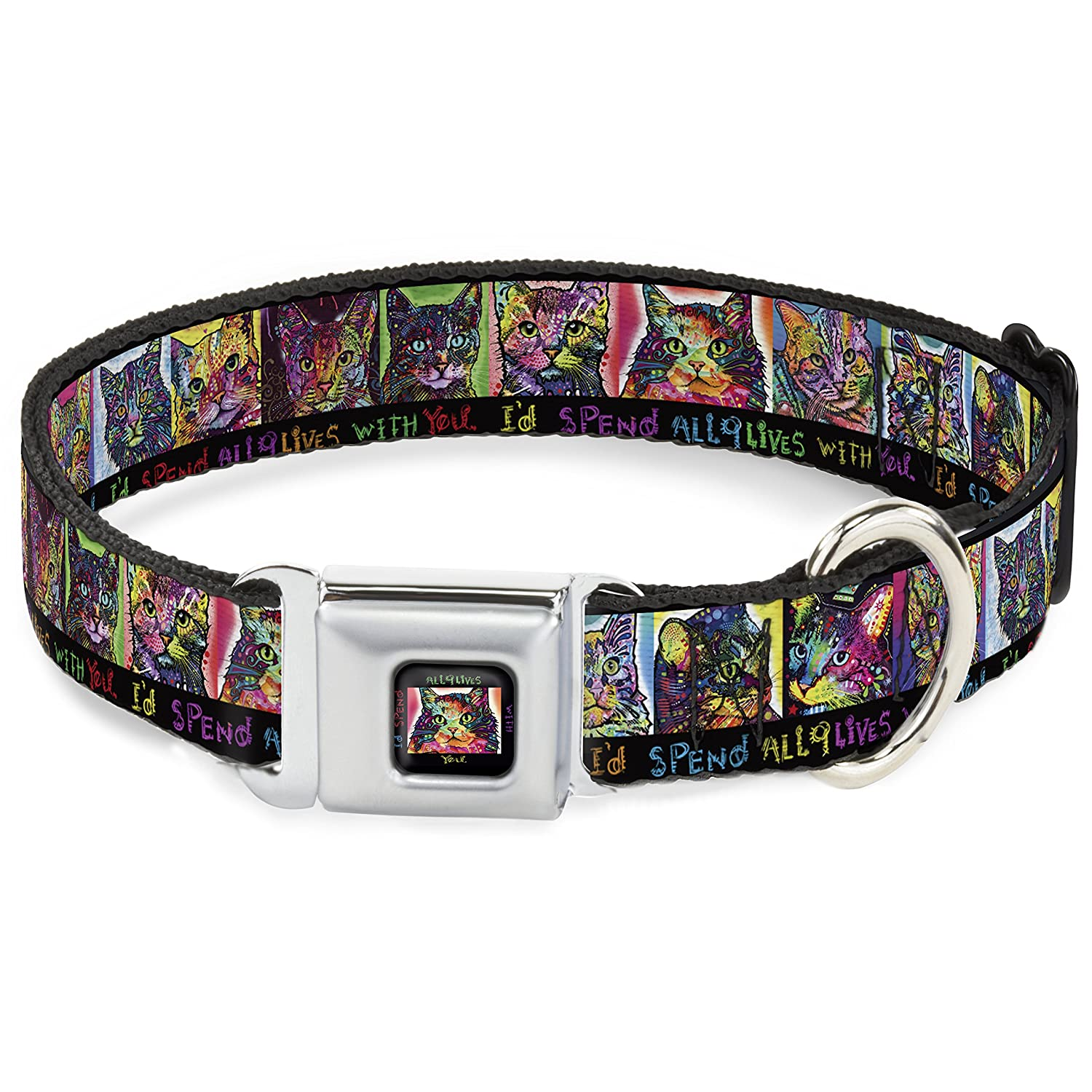 Buckle-Down Dc-Wal006-L ALC Cat Portraits I'd Spend All 9 Lives with You Dog Collar, Large, Black Multi color