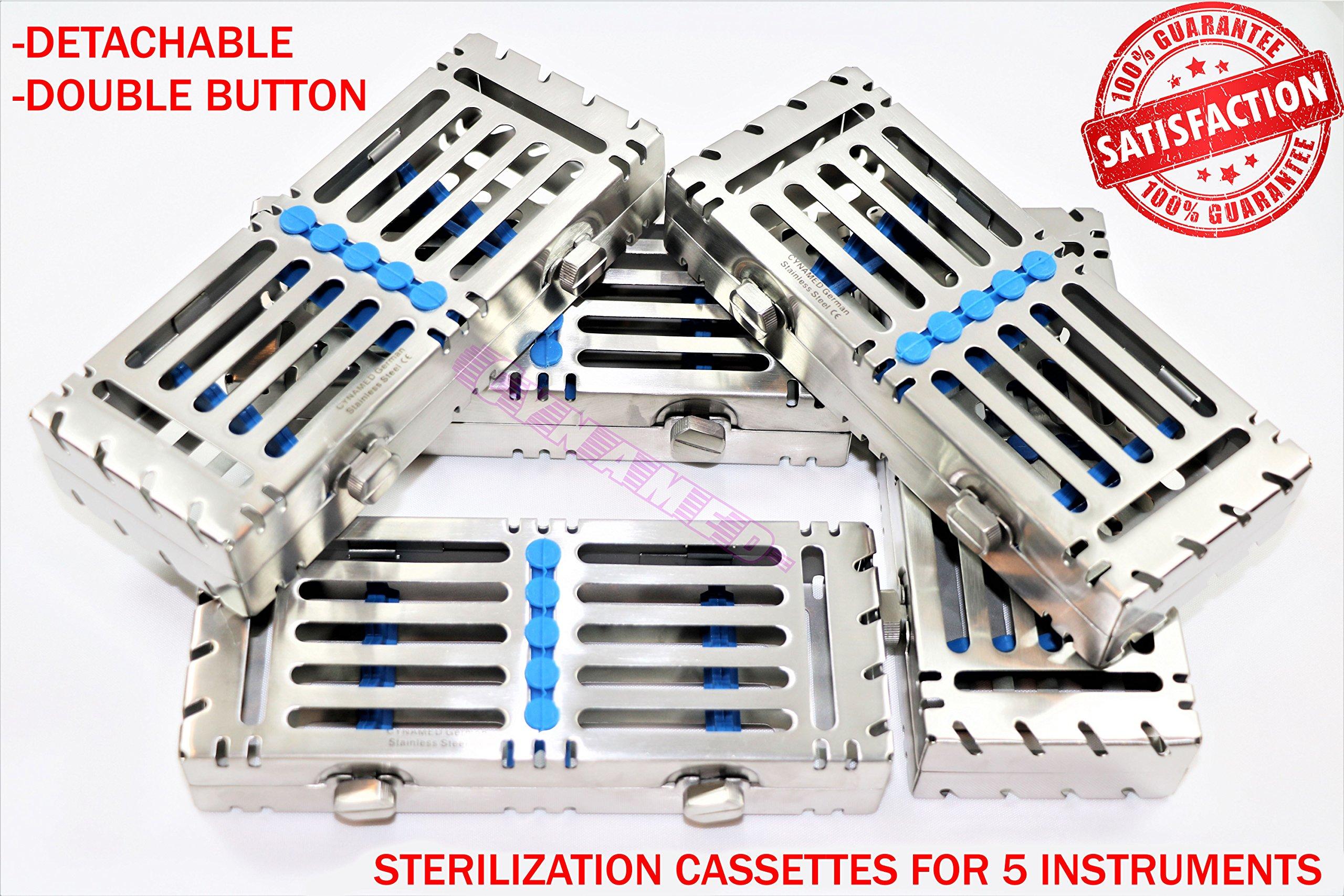 Double Button Detachable AUTOCLAVABLE Sterilization Trays 5PCS German Grade Blue [CYNAMED]