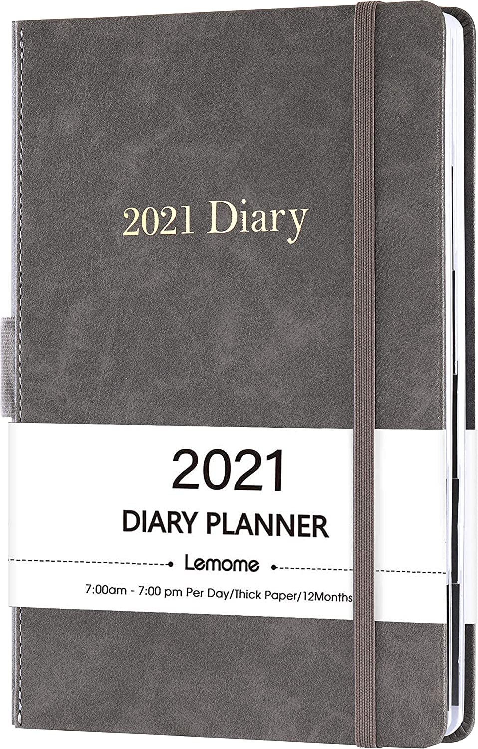 A5 Week to View Diary Blue 21.5 x 15 cm Diary 2021 Hardcover Marked Tabs Elastic Bound Runs from January to December