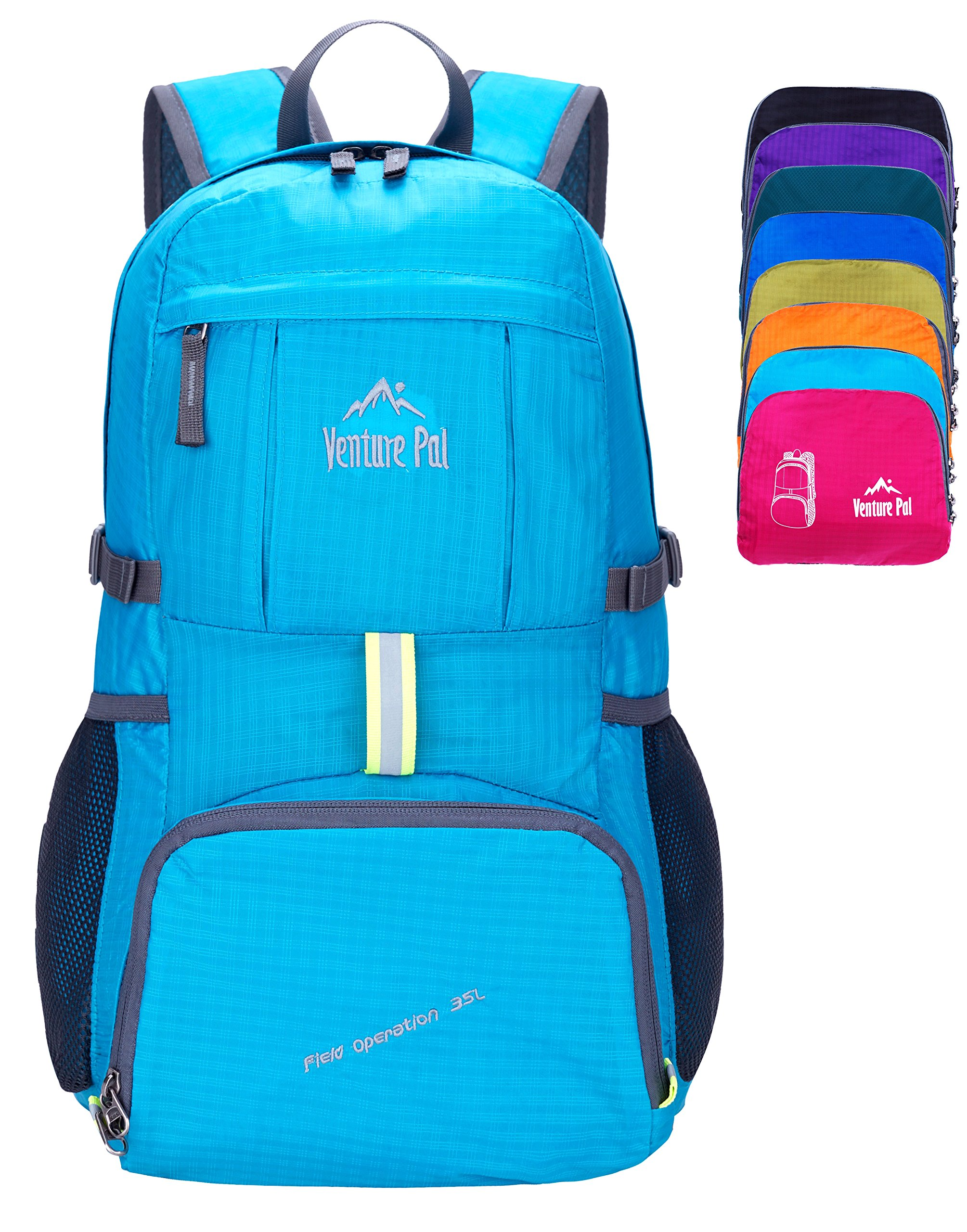 Venture Pal Ultralight Lightweight Packable Foldable Travel Camping Hiking Outdoor Sports Backpack Daypack (Blue) by Venture Pal