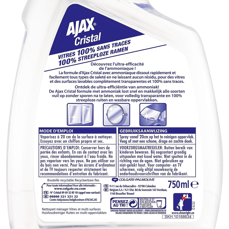 90ce1717bf424 Ajax Nettoyant Ménager Spray Vitre Cristal 750 ml - Lot de 4  Amazon.fr   HygiÚne et Soins du corps