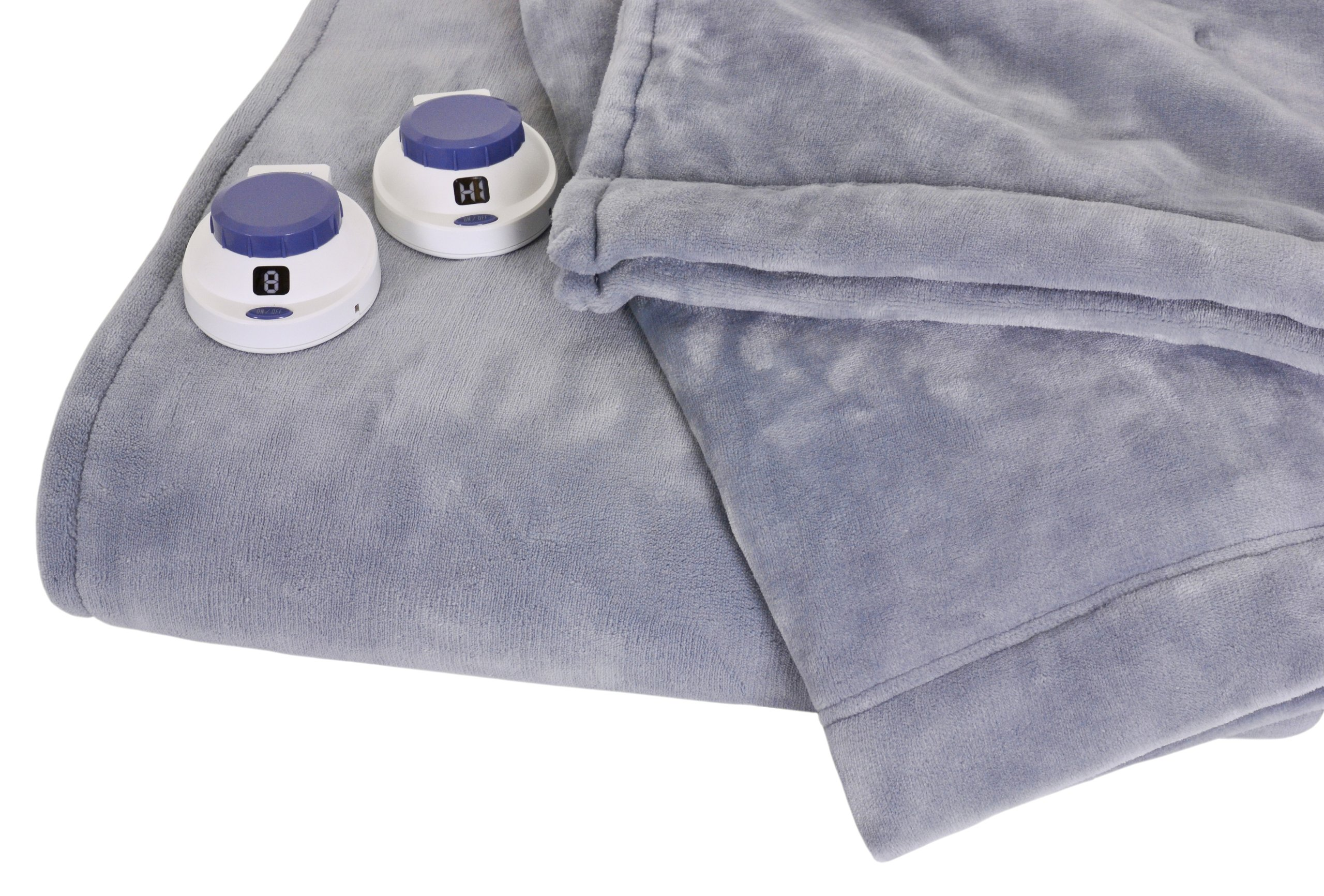 Soft Heat Luxurious Macromink Fleece Low-Voltage Electric Heated Blanket, King Size, Blue by SoftHeat