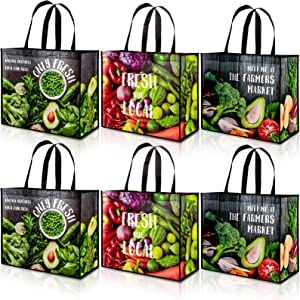 Whaline Extra Large Reusable Grocery Shopping Bags Vegetable Pattern Bags with Handles Extremely Durable Waterproof Foldable Totes Food Storage Farmer Market Bag (Pack of 6)