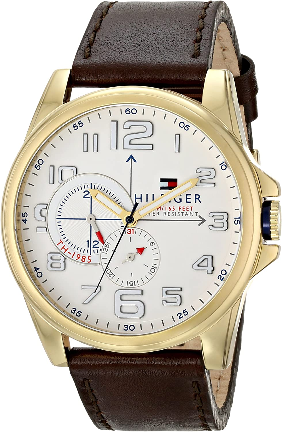 Tommy Hilfiger Men s 1791003 Stainless Steel Watch with Brown Leather Band