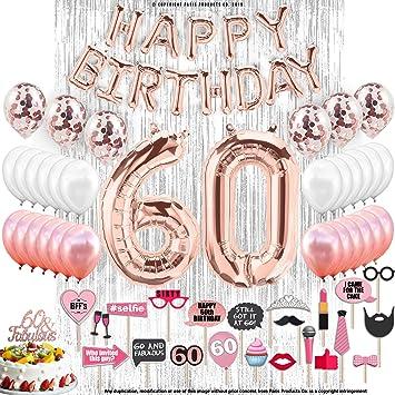 Amazon.com: Decoraciones de cumpleaños, dorado rosa con ...