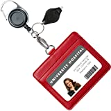 Genuine Leather ID Badge Holder Wallet with Heavy Duty Carabiner Retractable Reel, Key Ring and Metal Clip, 2 Card…