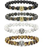 LOLIAS 4 Pcs Lava Rock Bead Bracelet for Men Leopard Lion Bracelet Set Adjustable 8MM Beads