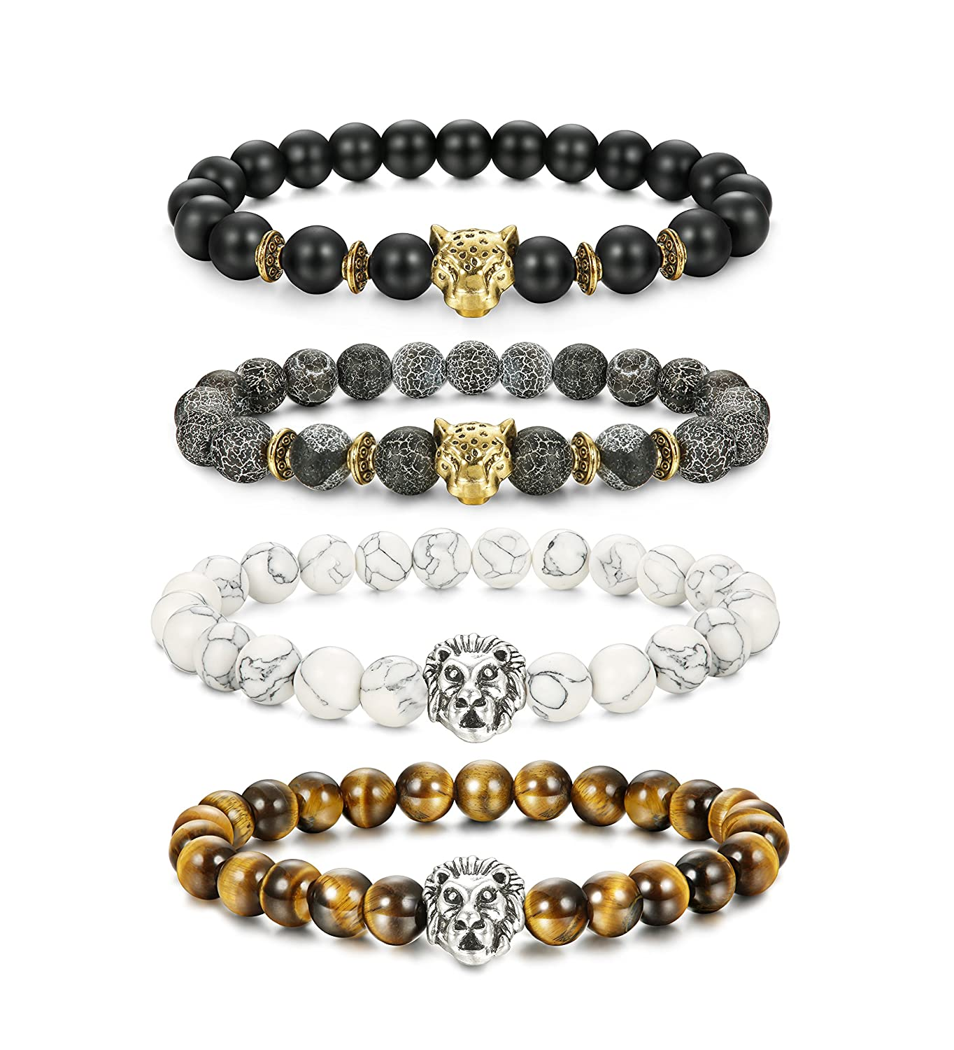 LOLIAS 4 Pcs Lava Rock Bead Bracelet for Men Leopard Lion Bracelet Set Adjustable 8MM Beads 4LLB-092-Y