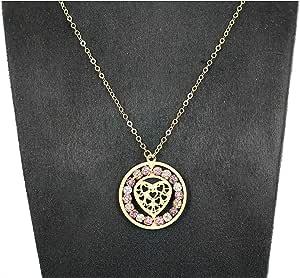سلسال ذهب خالص عيار 18 مع تعليقه قلب تحتوي على كرات زركون ملون
