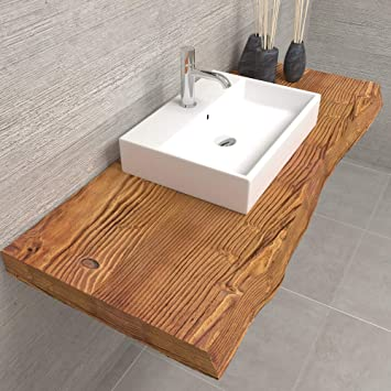 Mensola in legno piano lavabo da bagno   Mensola in legno rustico grezzo    Misura 110x50x6 cm   Mensola da bagno in legno massello con frontale ...