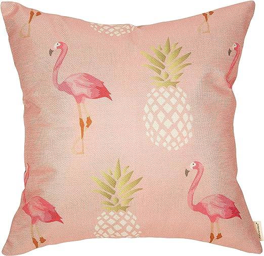 Flamingo Pink 100/% Cotton Throw Pillow Case Sofa Cushion Cover Home Decor