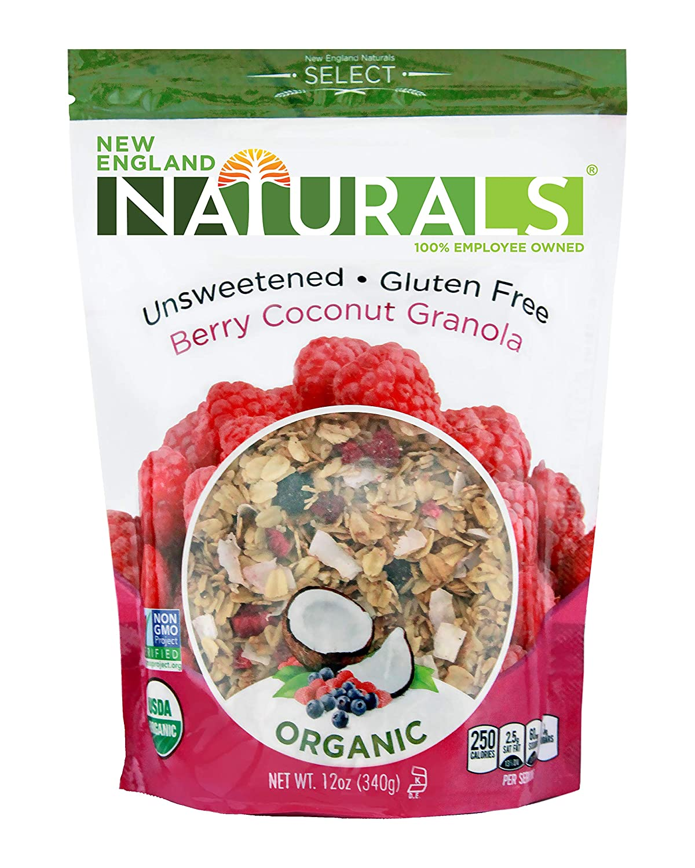 New England Naturals Organic Unsweetened Gluten-Free Berry Coconut Granola, 12 Ounce Pouch Berry Coconut High Fiber Omega-3 Granola Breakfast Cereal, Non-GMO, USDA Organic, Kosher