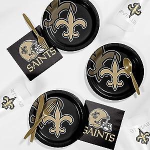Creative Converting New Orleans Saints Tailgating Kit, Serves 8