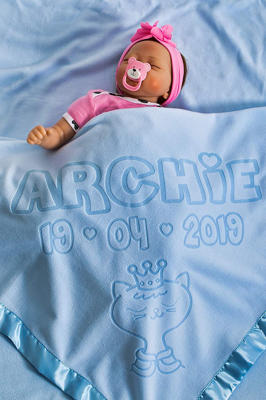 Manta para bebé personalizada con nombre y fecha de nacimiento Regalo para el recién nacido, tamaño 88x88CMCM Azul