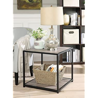 Weathered Grey Oak Finish Metal Square Chair Side End Table with 2-tier Shelf
