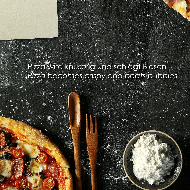 KLAGENA Set de Piedra y espátula de Pizza y Pan para Horno y Grill - Pala de Pizza/Pala para panes caseros: Amazon.es: Hogar