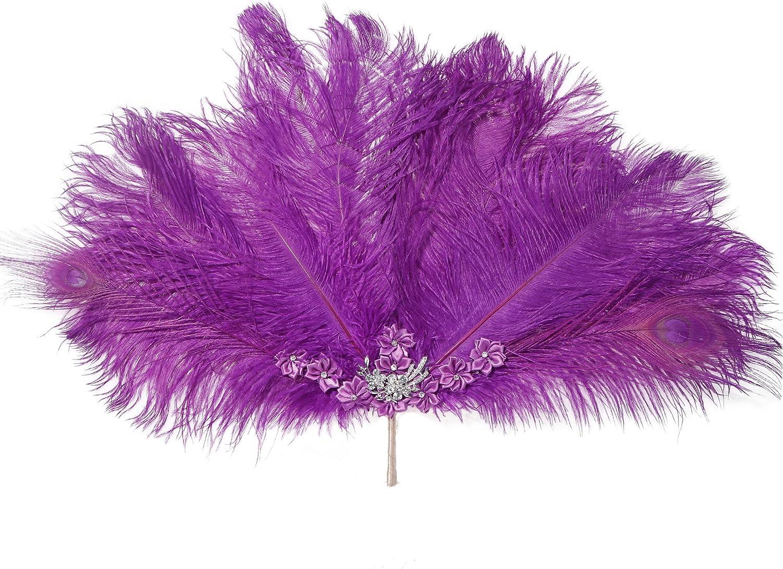 Metme Roaring 20s Feather Fan Falten Handheld Flapper Marabou Feather Hand Fan f/ür Kost/üm Dance Party Gatsby Zubeh/ör